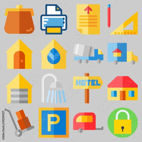Icon set about Real Assets with keywords printer, truck, shower, padlock, maps and flags and measuring