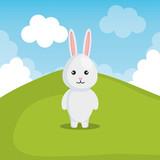 cute rabbit in landscape vector illustration design - 192096362