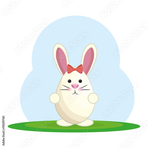 Aluminium Lichtblauw cute rabbit in landscape vector illustration design