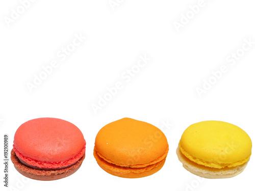 Foto op Aluminium Macarons raspberry, orange, and lemon flavoured macaroons