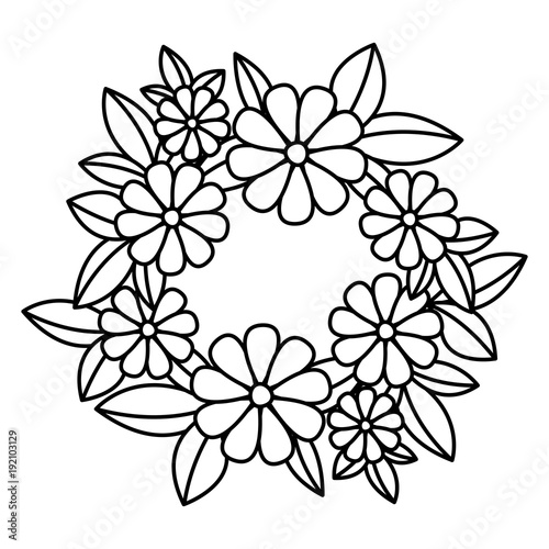 cute floral crown decoration icon vector illustration design - 192103129