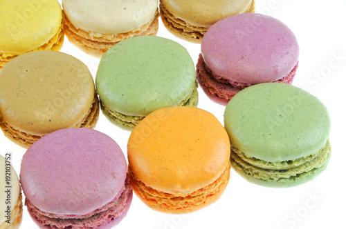 Aluminium Macarons Colorful macarons isolated on the white background