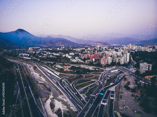 Amazing aerial cityscape of Santiago de Chile