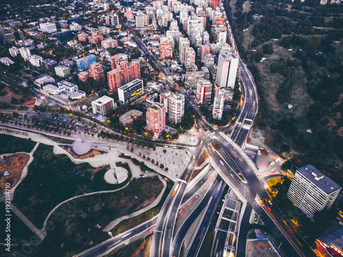 Wall mural Amazing aerial cityscape of Santiago de Chile