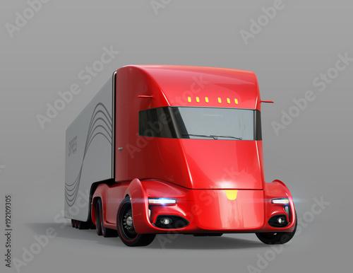 semi-camion-electrico-de-conduccion-automatica-rojo-metalico-aislado-sobre-fondo-gris-imagen-de-representacion-3d