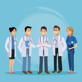 Medical team cartoon icon vector illustration graphic design Health and healthcare - 192111306