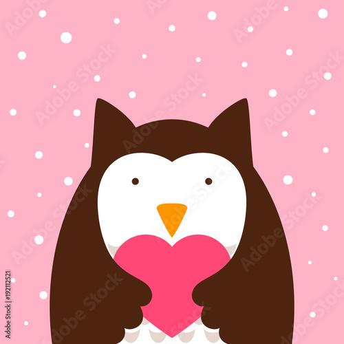 Foto op Plexiglas Uilen cartoon Cartoon cute owl, heart illustration Vector eps 10