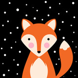 Cartoon flat illustration- funny, cute fox. Vector eps 10 - 192113513