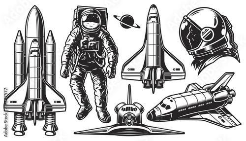 Fototapeta Set of vector object of space.