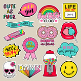 Set of girls fashion patches, cute cartoon badges, fun stickers design vector for teenage girls. - 192118354