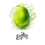 Template vector card with hand drawn doodle elements and green realistic egg. Handwritten inscription Happy Easter. Doodle sketch on white background. For web and print banners, posters, invitations - 192123720
