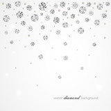 Brilliant vector snowfall. Abstract background with diamonds and pearls for graphic design - 192126725