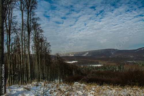 Tuinposter Blauwe jeans View on little Carpathian mountain in winter, Slovakia, Europe