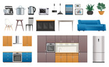 Kitchen Interior Elements Icons Set - 192127192