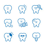 Dental care Vector Set of tooth cartoon character design. White smile, teeth care. Funny teeth with different emotions.