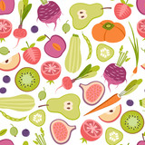 seamless pattern with fruits and vegetables - 192132140