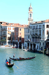 Grand canal of venice with gondolas