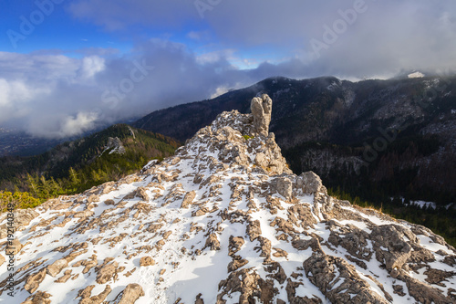 Aluminium Grijze traf. Sarnia Skala peak in Tatra mountains at winter, Poland