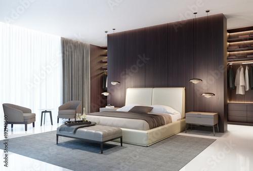 Nowożytna luksusowa sypialnia z ciemnym drewnianym spacerem w szafie