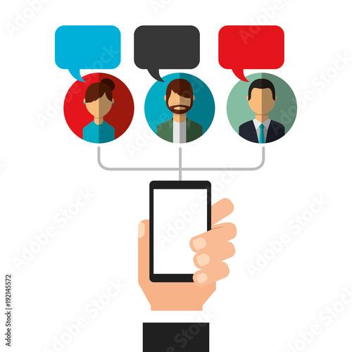 hand holding phone bubbles speak people social media vector illustration