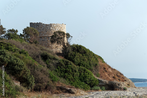 Tuinposter Blauwe hemel Genoese tower on eastern coast of Corsica