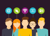 avatars social media connection circle icons vector illustration
