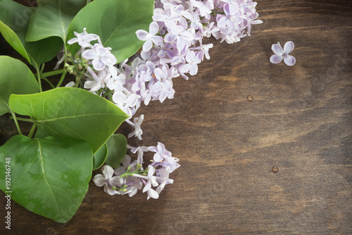 Bunch of lilac flowers on wooden background. Spring flower. Close up. Copy space.