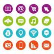 social media round icons application information vector illustration
