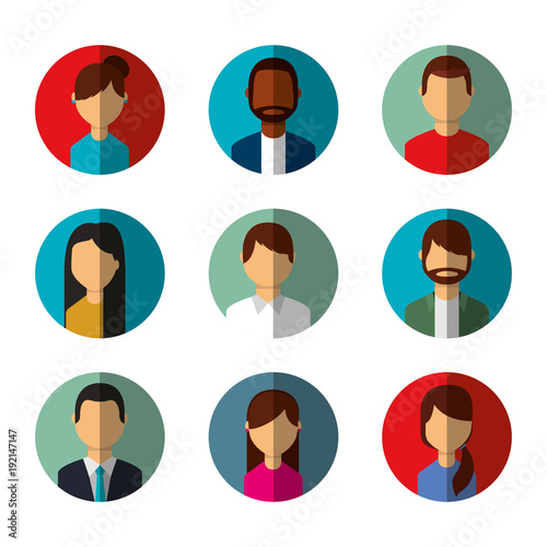 people avatars social media characters round icons vector illustration