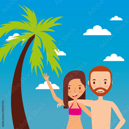 Fotobehang Blauw couple tourist waving hand happy with tropical landscape