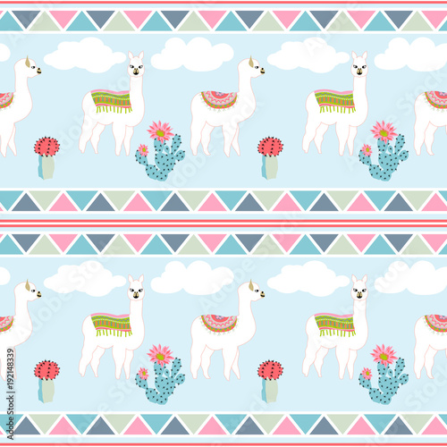 Seamless pattern with cute llama, castus and flower. Llama, cactus, flower pattern with Aztec geometric striped background - 192148339