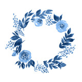 Watercolor wreath of roses. Hand painted floral composition in indigo blue