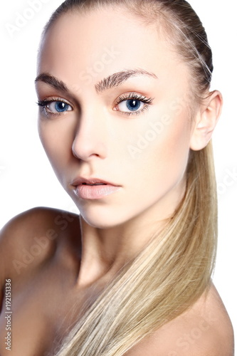 Foto op Plexiglas Spa Portrait of young; beautiful and healthy woman isolated on white background. Healthcare; spa; makeup and face lifting concept