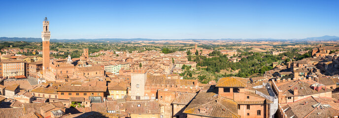 Panorama of Siena, aerial view with the Torre del Mangia, Tuscany, Italy