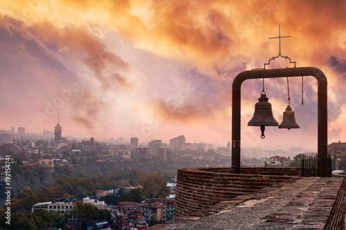 bells and beautiful view of Tbilisi from Narikala fortress, Georgia