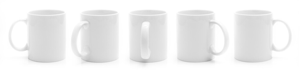 Set of different views of white cup isiolated on a white background © Alex Green
