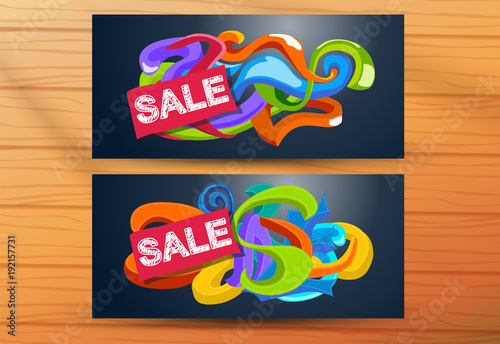 Fotobehang Graffiti banners for sale with color doodles pattern