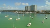 Aerial drone video Miami Beach sail boats Sunset Harbour - 192158969