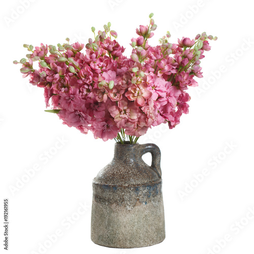 Foto op Plexiglas Magnolia Bouquet of artificial sweet-scented peas in a vase isolated on white background.
