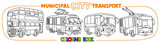 Funny small city transport with eyes coloring book