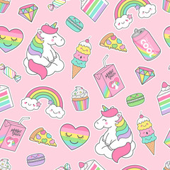 Cute pastel unicorn and dessert seamless pattern on pink background