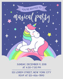 Cute unicorn sitting on the rainbow with night sky background for party invitation card template - 192171151