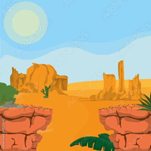 Papiers peints Piscine Desert landscape cartoon