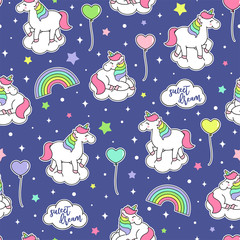 Cute unicorn, rainbow, balloon seamless pattern with star background