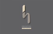 Grey Yellow Modern Alphabet Letter H Logo Icon Design Sticker