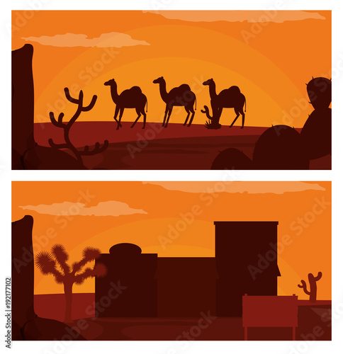Foto op Plexiglas Bruin Camels walking on desert and western village