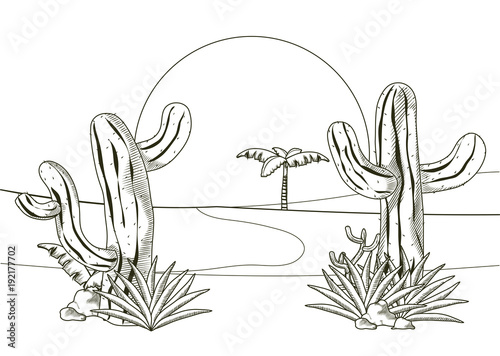 Foto op Plexiglas Wit Desert landscape hand drawn cartoon