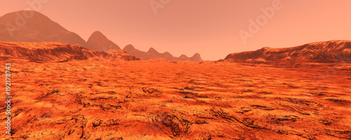 Foto op Canvas Rood 3D Rendering Planet Mars Lanscape