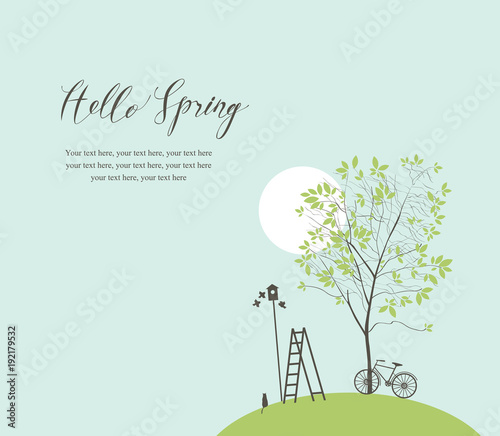 Staande foto Lichtblauw Vector banner with handwritten inscription Hello Spring and place for text. Spring landscape with green tree, bike, birds, birdhouse and ladder