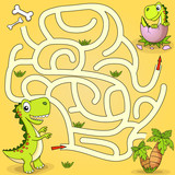 Help dinosaur find path to nest. Labyrinth. Maze game for kids © alka5051